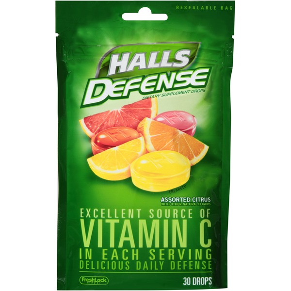 Halls Defense Vitamin C Assorted Citrus Supplement Drops