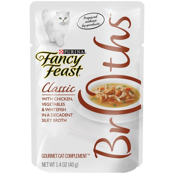 Fancy Feast Broths Classic with Chicken Vegetables & Whitefish Cat Food
