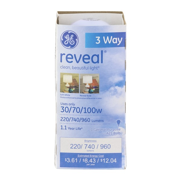 GE Reveal 3 Way 30/70/100 Watt Bulb