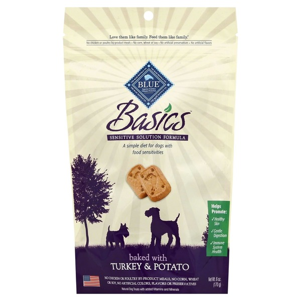 Blue Buffalo Dog Treat, Turkey & Potato, Basics, Pouch
