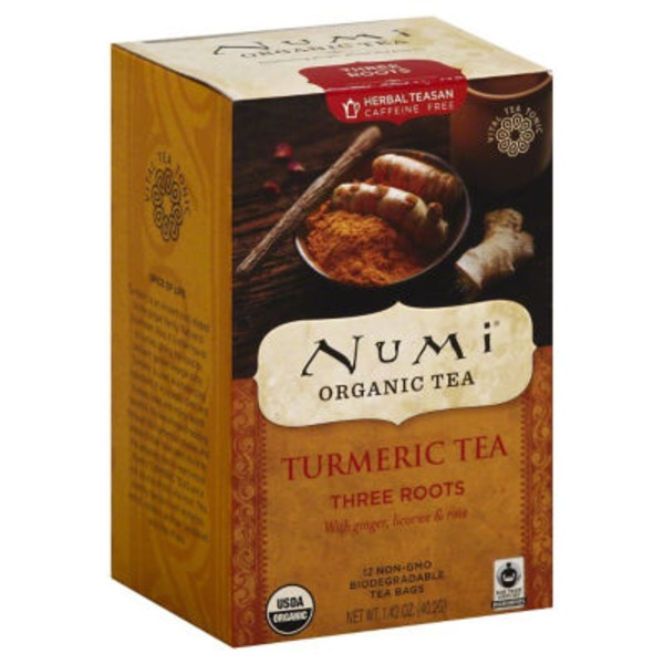 Numi Organic Turmeric Tea Bags Three Roots - 12 CT