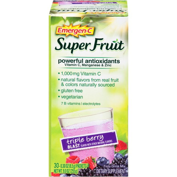 Emergen-C Super Fruit Triple Berry Blast Drink Mix Dietary Supplement