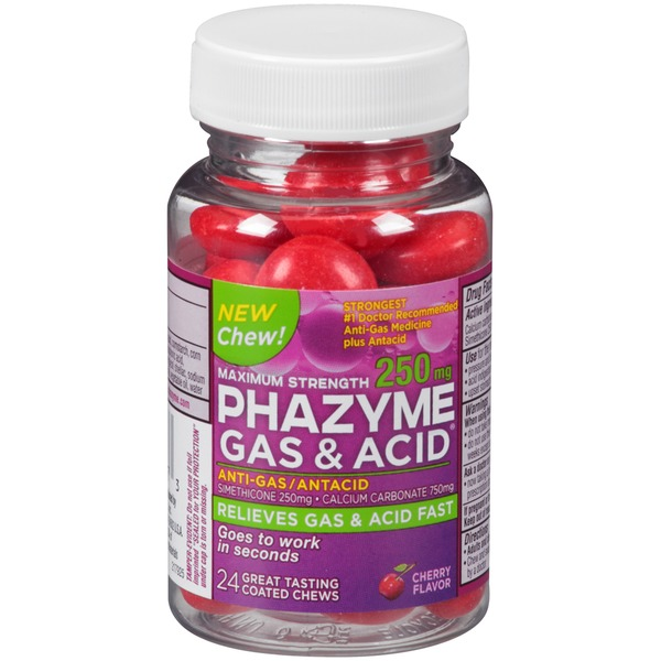 Phazyme Maximum Strength Cherry Flavor Coated Chews Anti-Gas/Antacid