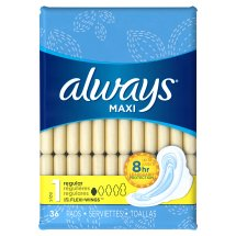 Always Maxi Size 1 Regular Pads with Wings, Unscented, 36 Count