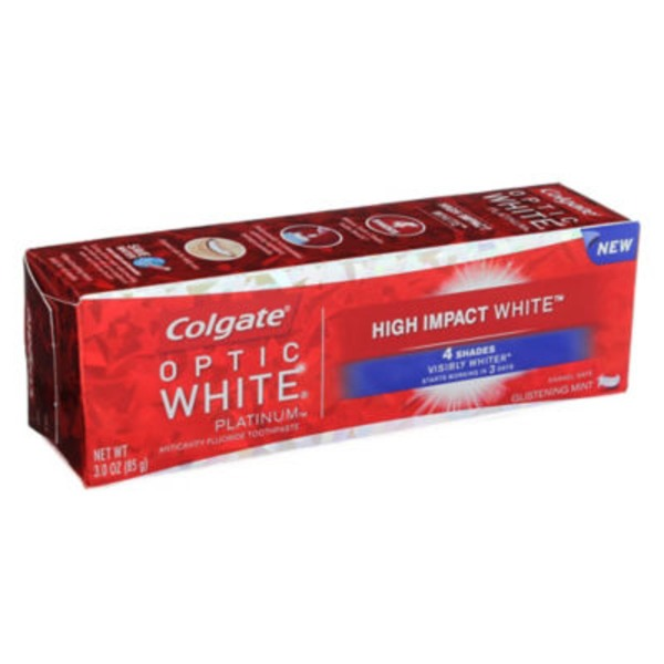 Colgate Optic White Platinum High Impact White Anticavity Flouride Toothpaste Glistening Mint