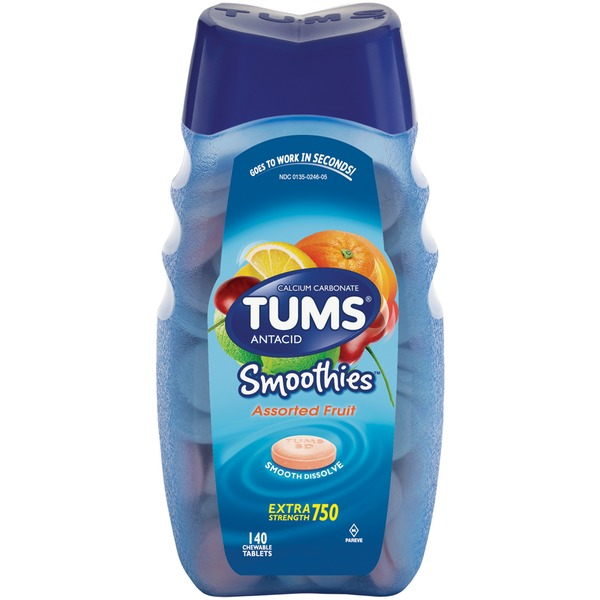 Tums Smoothies Extra Strength 750 Assorted Fruit Tablets Antacid/Calcium Supplement