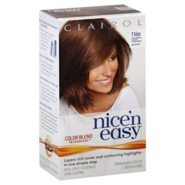 Clairol Nice 'n Easy, 6W/116B Natural Light Caramel Brown, Permanent Hair Color, 1 Kit Female Hair Color