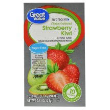 Great Value Electrolyte Drink Mix, Strawberry Kiwi, Sugar-Free, 0.85 oz, 10 Count