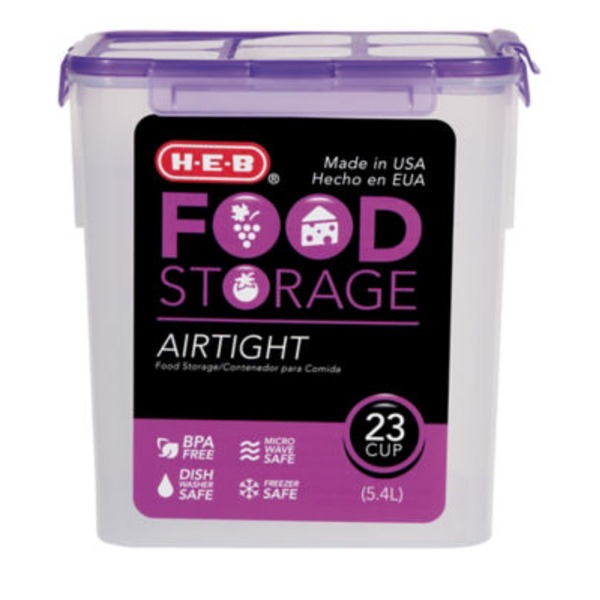 H-E-B 23 Cup Airtight Food Storage Container With Purple Lid