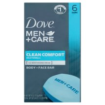 Dove Men+Care Clean Comfort Body and Face Bar 4 oz, 6 Bar