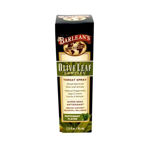 Barlean's Organic Oils Olive Leaf Complex Throat Spray Soothing Peppermint