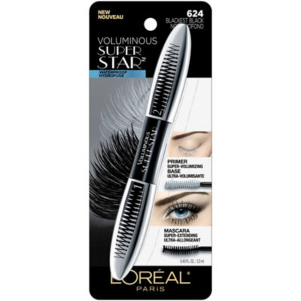Voluminous Superstar Waterproof 624 Blackest Black Mascara