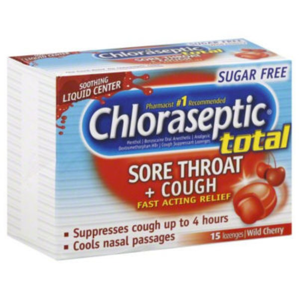 Chloraseptic Total Sore Throat + Cough Lozenges Wild Cherry - 15 CT