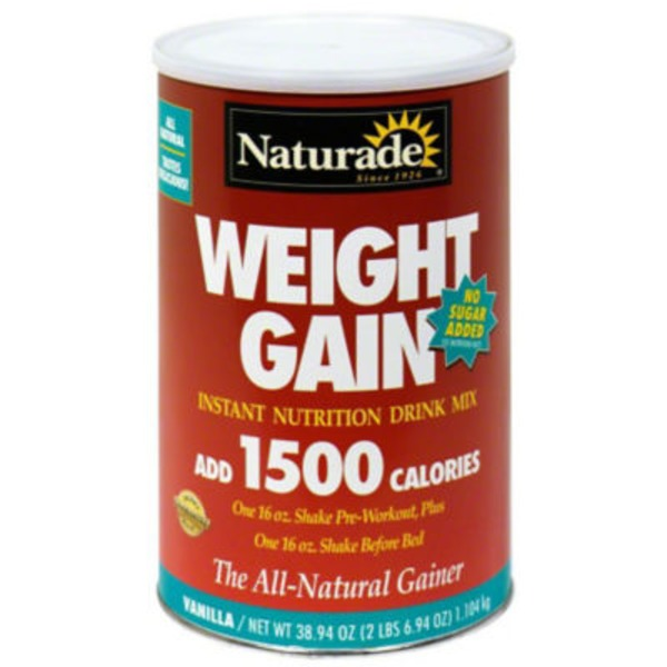 Naturade Weight Gain Instant Nutrition Drink Mix Vanilla Flavor No Sugar Added