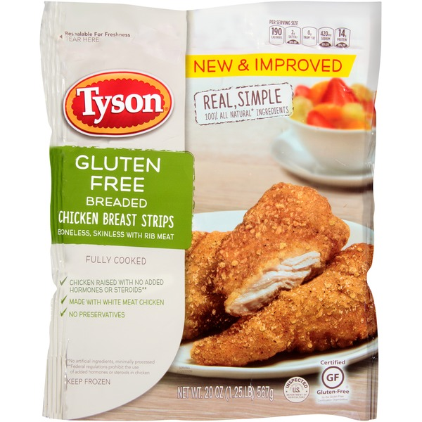 Tyson   Frozen Breaded Gluten Free Breaded Chicken Breast Strips