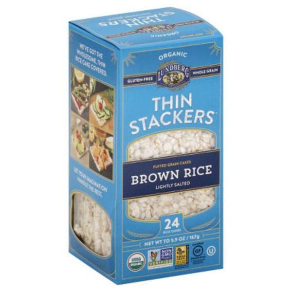 Lundberg Family Farms Thin Stackers Organic Brown Rice Lightly Salted Puffed Grain Cakes