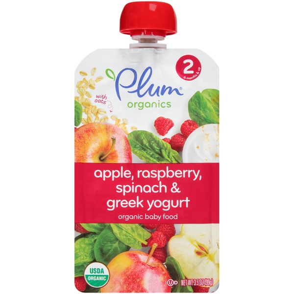 Plum Baby Apple, Raspberry, Spinach & Greek Yogurt Organic Baby Food
