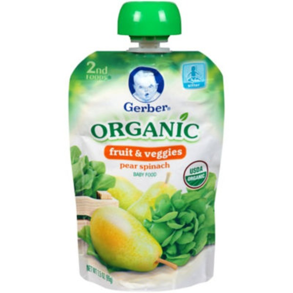 Gerber Organic 2 Nd Foods 2nd Foods Organic Pear & Spinach Baby Food