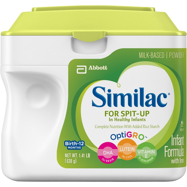 Similac For Spit-Up In Healthy Infants Non-GMO OptiGro with Iron Infant Formula