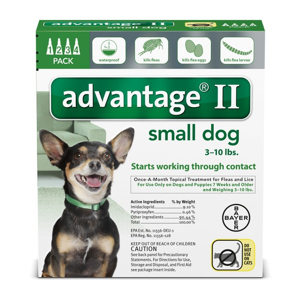 Bayer Advantage II Once-A-Month Topical Treatment Kills Fleas on Small Dogs Weighing 3-10 Pounds