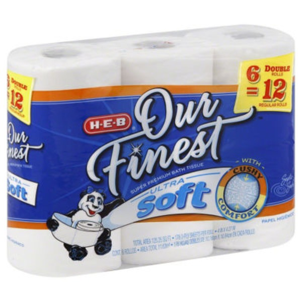 H-E-B Our Finest Ultra Soft Bath Tissue Double Rolls