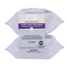 Equate Pre-Moistened Night-Time Soothing Makeup Remover Towelettes, 80 Ct, 2 Pk