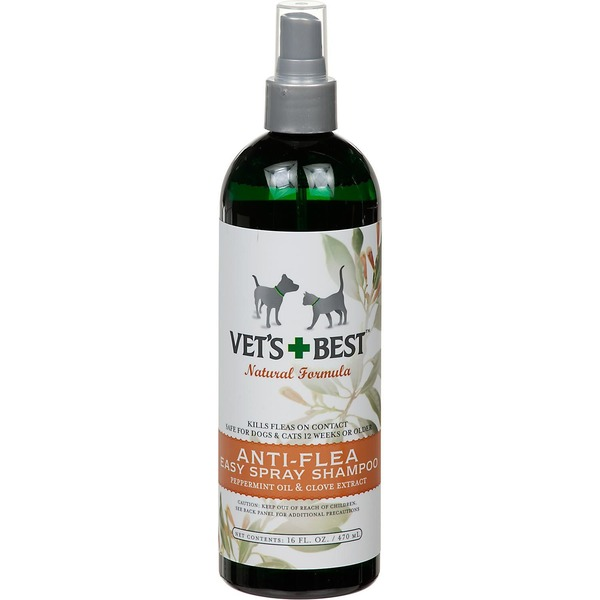 Vet's Best Natural Formula Anti-Flea Easy Spray Flea Shampoo Peppermint Oil & Clove Extract