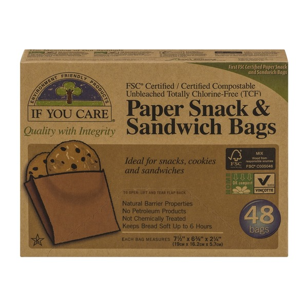 If You Care Paper Snack & Sandwich Bags - 48 CT