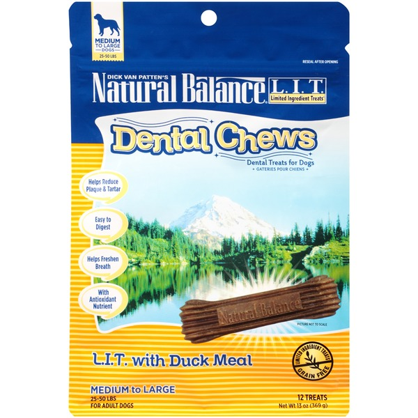 Natural Balance Dental Chews Dental Chews L.I.T. with Duck Meal Medium to Large Dog Treats