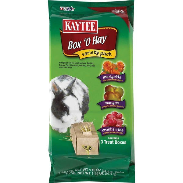 Kaytee Timothy Hay Plus Treat Boxes For Small Animals Marigold Mango And Cranberry Pack Of 3 Treat Boxes
