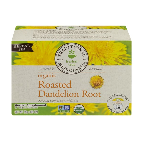 Traditional Medicinals Organic K-Cup Brewers Tea Roasted Dandelion Root - 10 CT