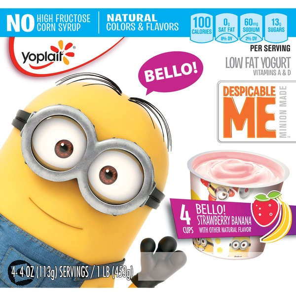 Yoplait Despicable Me Bello! Strawberry Banana Low Fat Yogurt