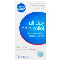 Ready in Case All Day Pain Relief Naproxen Sodium Tablets, 220 mg, 15 count