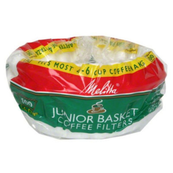 Melitta White Paper 4-6 Cups Junior Size Basket Coffee Filters