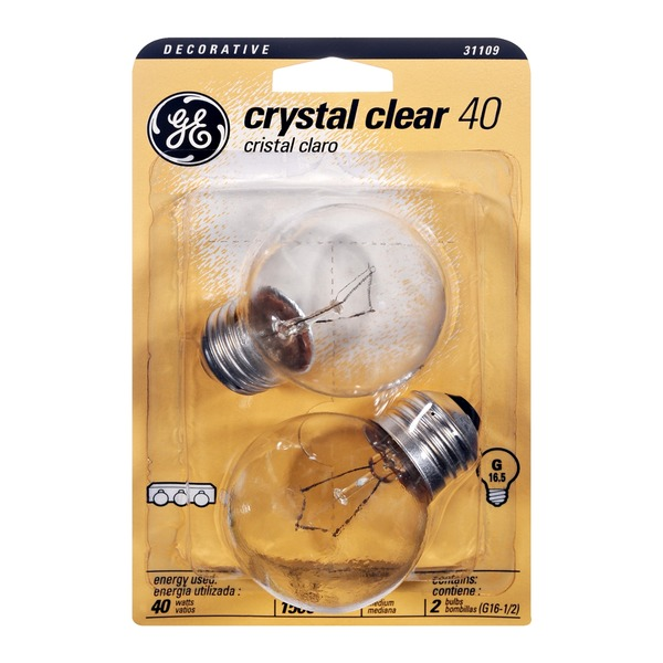 GE Crystal Clear Decorative 40 Watt G Medium Base Light Bulb