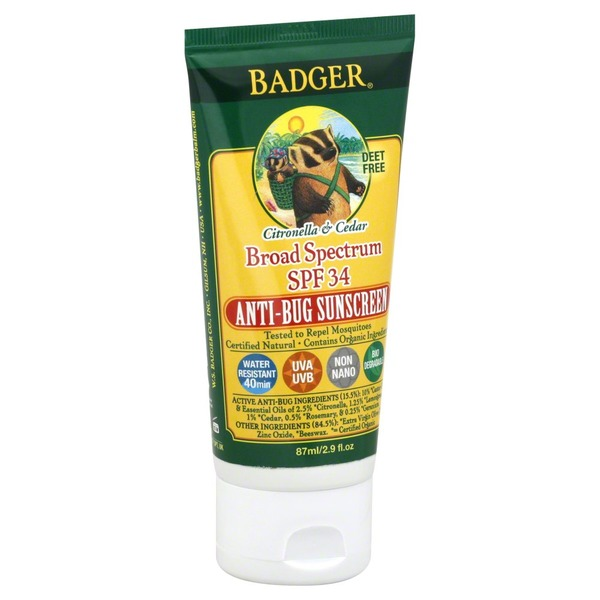 Badger Sunscreen Anti-Bug Broad Spectrum SPF 34, Citronella & Cedar