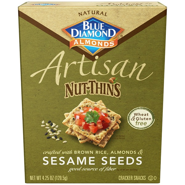 Blue Diamond Almonds Artisan Sesame Seeds Nut & Rice Cracker Snacks