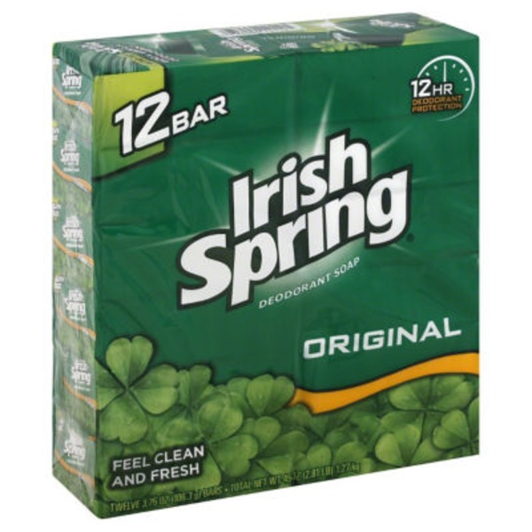 Irish Spring Deodorant Soap Original - 12 CT