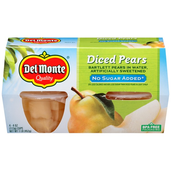 Del Monte Pears No Sugar Added Diced in Water Fruit Cups