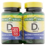 Spring Valley Vitamin D3 Softgels, 1000 IU, 100 Ct, 2 Pk