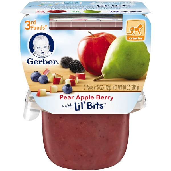 Gerber 3 Rd Foods 3F Pear Apple Berry with Lil' Bits Purees Fruit