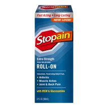 Stopain Extra Strength Pain Relieving Roll-On with MSM & Glucosamine, 3.0 FL OZ