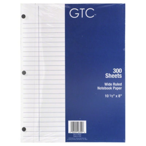 GTC Wide Ruled Notebook Paper 300 Sheets