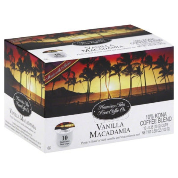 Hawaiian Isles Vanilla Macadamia Single Serve Brew Cups Kona Coffee