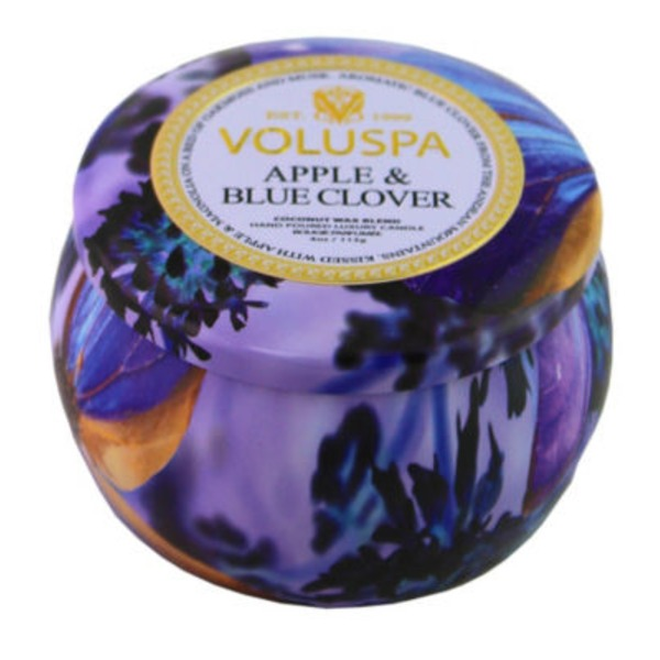 Voluspa Apple & Blue Clover Small Decorative Tin Candle