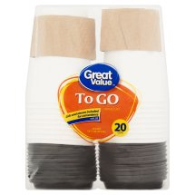 Great Value To Go Paper Cups & Lids, 16 Oz, 20 Count
