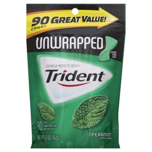 Trident Unwrapped Spearmint Sugar Free Gum with Xylitol