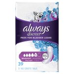 Always Discreet Incontinence Pads, Maximum, Long, 39 Ct