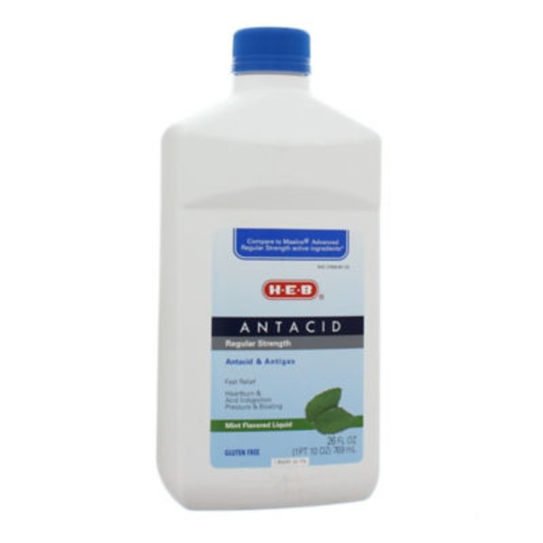 H-E-B Antacid Regular Strength Mint Flavored Liquid