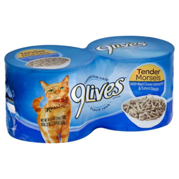 9 Lives Wet Tender Morsels with Real Ocean Whitefish & Tuna in Sauce Cat Food